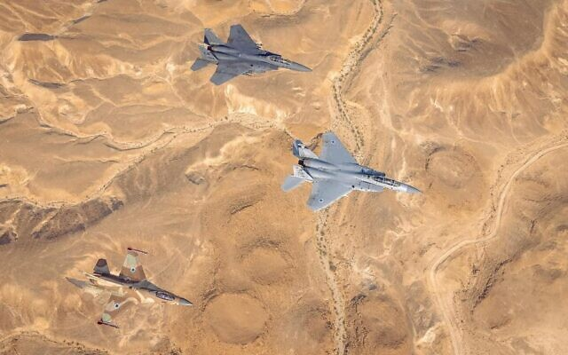 IAF and AFCENT F-15 and F-16 jets are seen over southern Israel during the 'Desert Eagle' drill, on August 10, 2021. (Israel Defense Forces)
