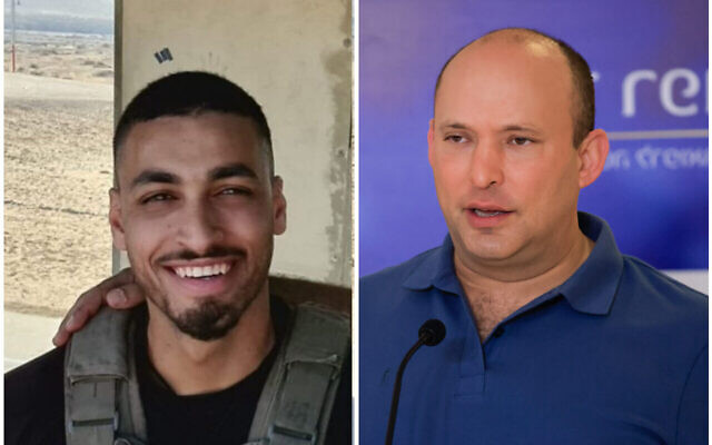 Border Police officer Barel Shmueli (left) killed in a shooting by a Gaza gunman on the border on August 21, 2021, and Prime Minister Naftali Bennett (right). (Border Police; Olivier Fitoussi/Flash90)