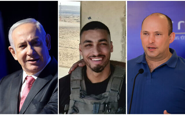 Former prime minister Benjamin Netanyahu (left); Border Police officer Barel Shmueli (center) who was critically wounded in a shooting on the Gaza border on August 21, 2021; Prime Minister Naftali Bennett (right). (Noam Revkin Fenton/Flash90; Border Police; Olivier Fitoussi/Flash90)