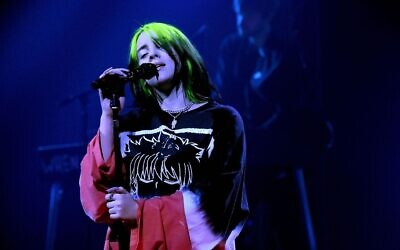 Billie Eilish performs onstage at the iHeartRadio ALTer EGO concert, January 28, 2021. (Kevin Mazur/Getty Images for iHeartMedia via JTA)
