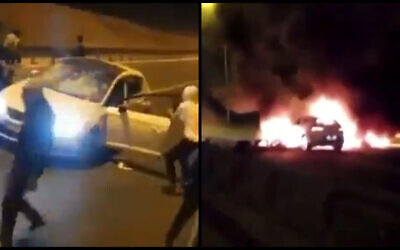 Two of the three cars that were attacked by a number of Bedouin suspects on Route 6, May 11, 2021. (Video screenshot)