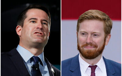 (L) Rep. Seth Moulton speaks during a candidate forum on labor issues on Aug. 3, 2019, in Las Vegas. (R)  Republican candidate Peter Meijer speaks at a campaign rally on Oct. 14, 2020, in Grand Rapids, Michigan. (AP/John Locher, Carlos Osorio)