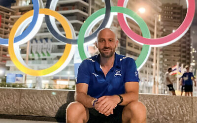 Yoni Rosenblatt, Team Israel's sports physical therapist, in Tokyo. (Courtesy of Yoni Rosenblatt/Baltimore Jewish Times via JTA)