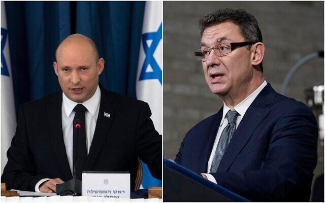 Prime Minister Naftali Bennett (left) and Pfizer CEO Albert Bourla. (Composite/AP)