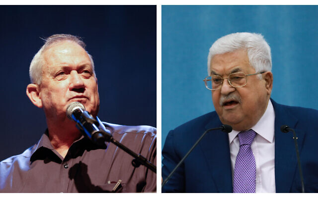 (L) Defense Minister Benny Gantz attends a conference in the Eshkol region, southern Israel. on July 13, 2021. (R) Palestinian Authority President Mahmoud Abbas delivers a speech regarding COVID-19, at the Palestinian Authority headquarters, in the West Bank city of Ramallah, May 5, 2020 (Flash90)