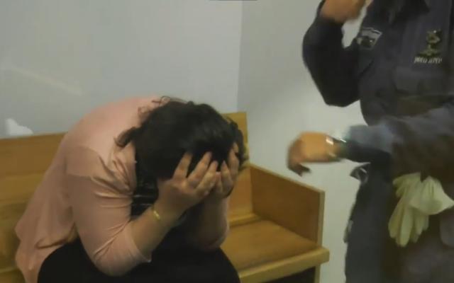 Yael Gavrielov is seen at the Bnei Brak district court, on July 3, 2017. (Video screenshot/Ynet)