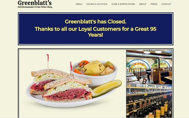 Greenblatt's Deli and Fine Wine Shop posted a farewell message on its website on Thursday, August 12, 2021, after shutting down for good. (Screenshot)