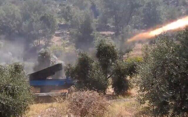 Hezbollah fires rockets toward Israel on July 8 2021 (Screencapture)