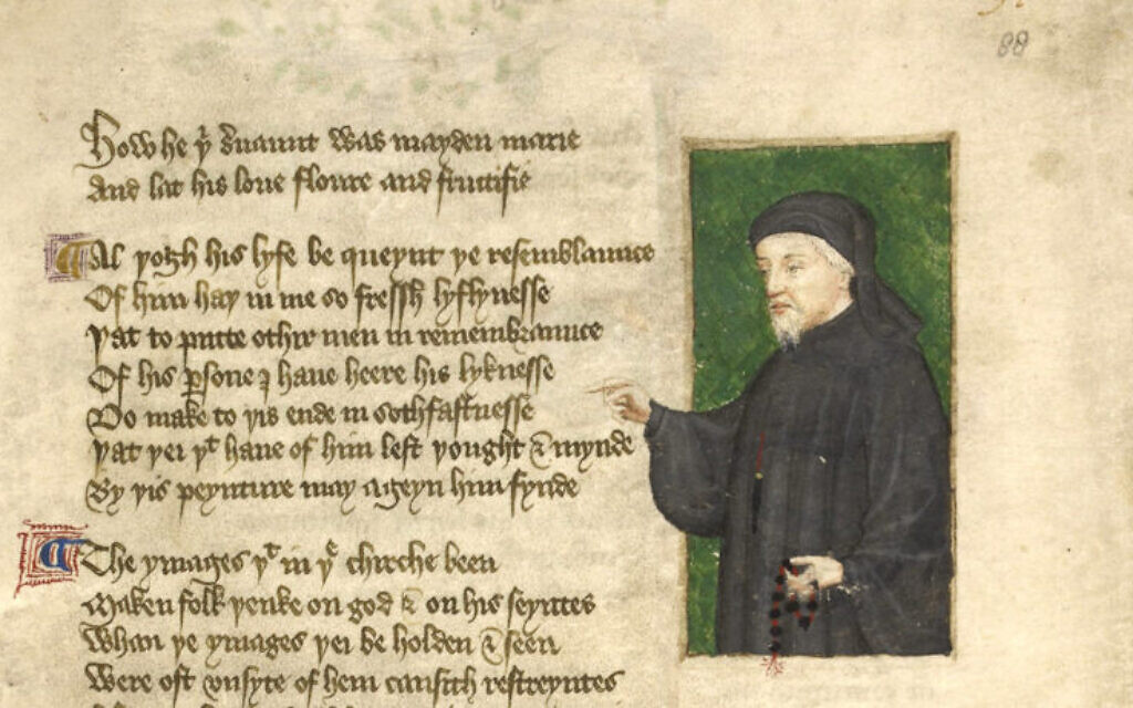 Portrait of Chaucer from a 1412 manuscript by Thomas Hoccleve, who may have met Chaucer (Wikimedia commons)