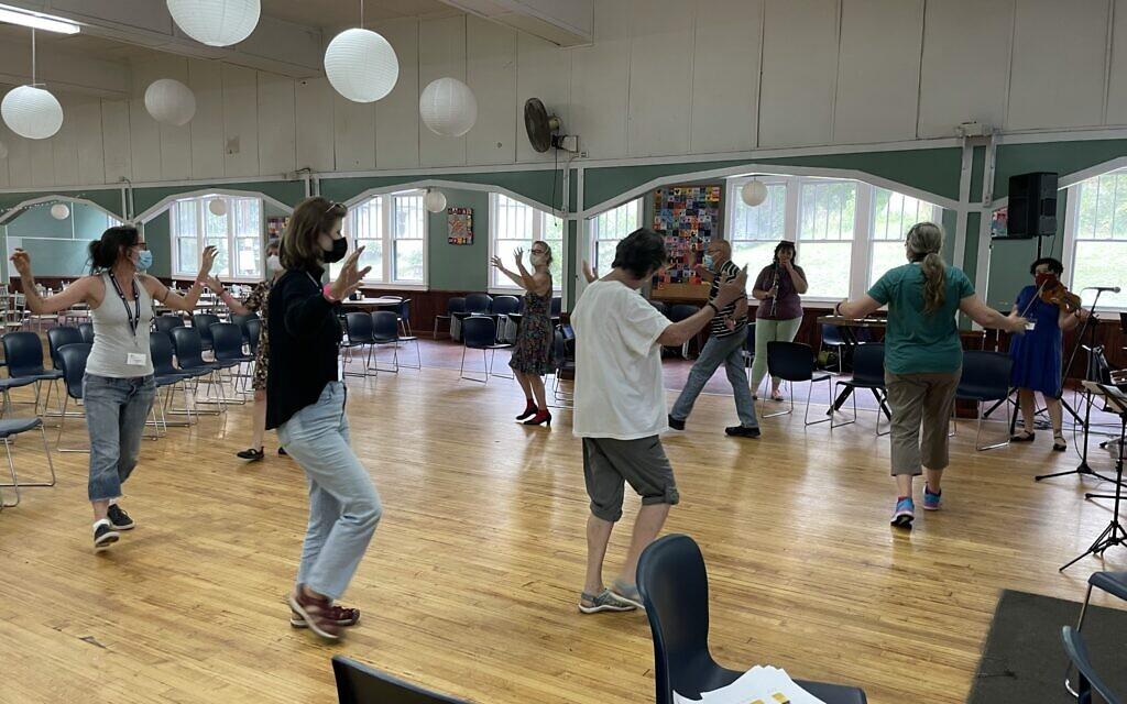 A dance class at the Yiddishland retreat, August 2021. (Danielle Ziri)