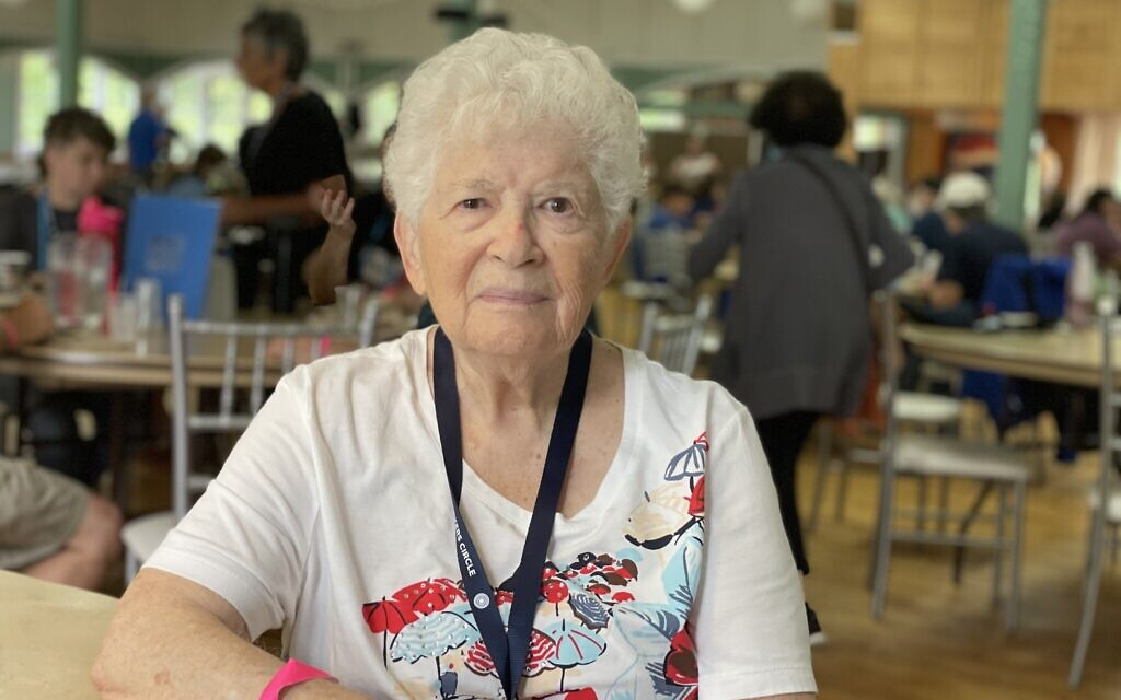 92-year-old Golda Shore at Yiddishland, August 2021. Shore flies from her home in Florida to New York each year to attend the retreat. (Danielle Ziri)