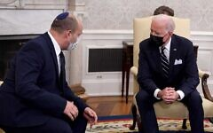 Prime Minister Naftali Bennett speaks as he meets with US President Joe Biden in the Oval Office of the White House, on Friday, August 27, 2021, in Washington, DC. (GPO)