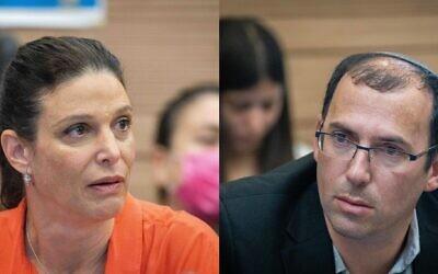 Labor MK Efrat Rayten (left) and Religious Zionism MK Simcha Rothman. (Flash90)