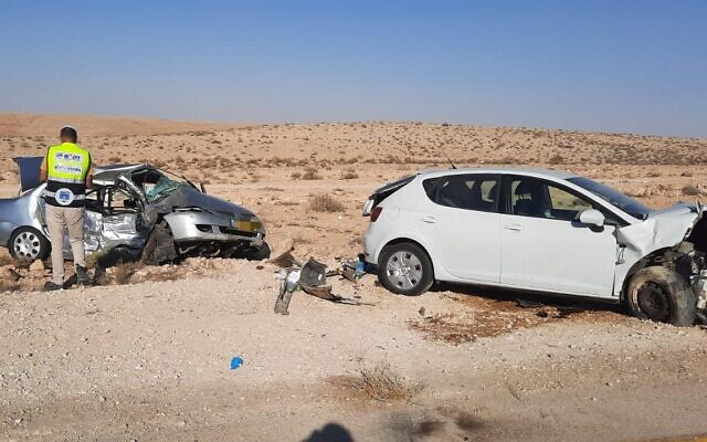 A ZAKA volunteer is seen at the scene of a deadly car crash near Miztpe Ramon in southern Israel, August 22, 2021. (ZAKA)