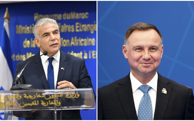 Foreign Minister Yair Lapid (left) speaks at a ceremony in Rabat, on August 11, 2021. Poland's President Andrej Duda (right) arrives for a NATO summit in Brussels on June 14, 2021. (Shlomi Amsalem/GPO; Kenzo Tribouillard/Pool via AP)