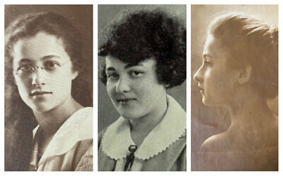 From left: Marcella Morris as a young woman; Ruth Morris in her high school yearbook; Selma Morris as a young woman (Courtesy of Julie Klam)