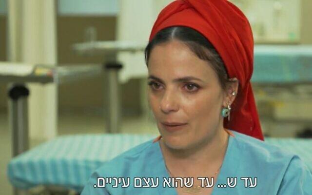 Nurse Miri Shem-Ad of Petah Tikva's Beilinson Medical Center (Screencapture/Channel 12)