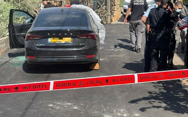 Scene of the shooting in Rameh on August 15, 2021, in which politician Sahar Ismail, 50, was shot dead. (Israel Police)