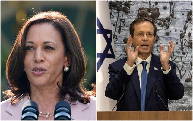 US Vice President Kamala Harris and President Isaac Herzog. (Composite/ AP)