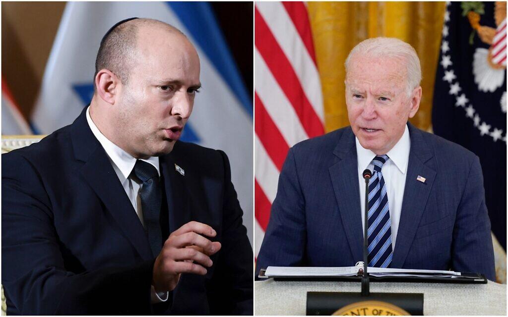 Prime Minister Naftali Bennett (left) and US President Joe Biden. (Composite/AP)