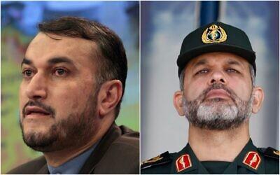Combination photo, from left: Hossein Amirabdollahian, Gen. Ahmad Vahidi (AP Photos/Misha Japaridze, Vahid Salemi, File)