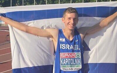 Israel's Yonathan Kapitolnik after his victory at the World Athletics competition in Nairobi, Kenya, August 21, 2021. (Israel Athletics Association)