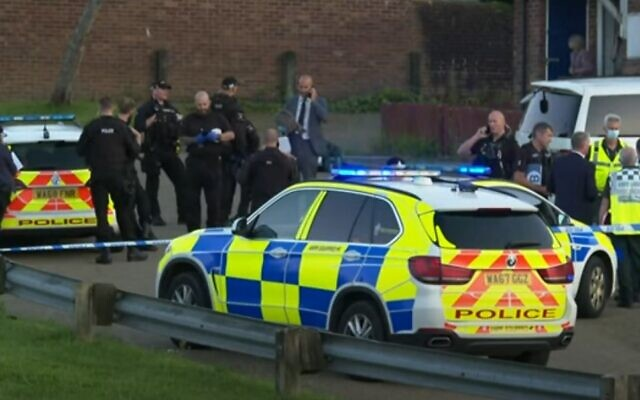 Police in Plymouth, UK on August 12, 2021 (video screenshot)