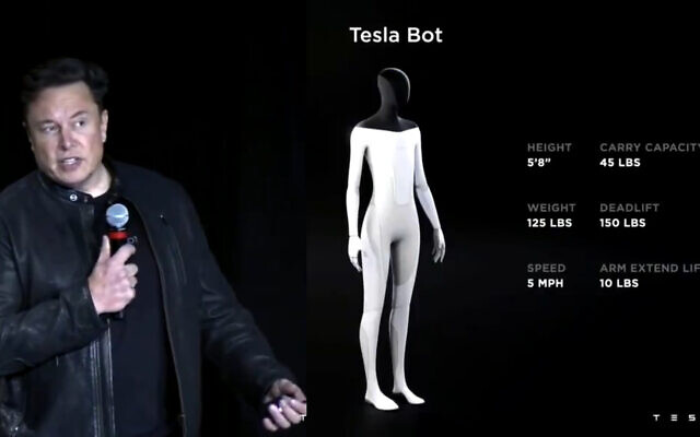 Elon Musk announces the 'Tesla Bot' in an online conference, on August 19, 2021. (Video screenshot)