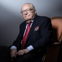 French founder of the far-right Front national party Jean-Marie Le Pen poses during a photo session at his home in Saint-Cloud, on January 14, 2021. (Joel Saget/AFP)