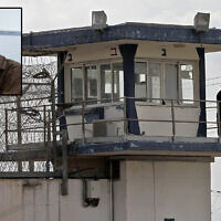 A guard keeps watch from an observation tower at Gilboa Prison in northern Israel on September 6, 2021, after the escape of six Palestinian security prisoners from the facility. (Jalaa Marey/AFP) Photo of terrorist leader Zakaria Zubeidi. (Yonatan Sindel/Flash90)