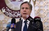 US Secretary of State Antony Blinken speaks during a joint press conference at the Ministry of Foreign Affairs in the Qatari capital Doha, on September 7, 2021. (Olivier Douliery/Pool/AFP)