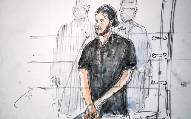 This court-sketch made on September 8, 2021 shows Salah Abdeslam, the last surviving member of the jihadist cell of the November 2015 Paris attacks, during the first day of the trial of the November 2015 Paris and Saint-Denis attacks taking place in a temporary courtroom set up at the Paris' Palais de Justice historic courthouse on September 8, 2021. (Benoit PEYRUCQ / AFP)