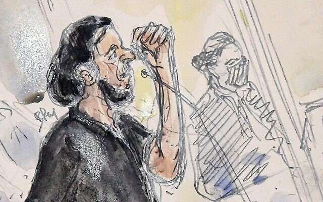 This court sketch made on September 8, 2021 shows Salah Abdeslam, the last surviving member of the jihadist cell of the November 2015 Paris attacks, during the first day of the trial of the November 2015 Paris and Saint-Denis attacks taking place in a temporary courtroom set up at the Paris' Palais de Justice historic courthouse on September 8, 2021. (Benoit PEYRUCQ / AFP)
