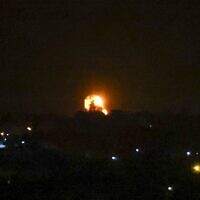 Illustrative: After a rocket was fired toward Israel, a fireball rises following an air strike in Khan Yunis in the southern Gaza Strip, in the early hours of September 11, 2021. (SAID KHATIB / AFP)