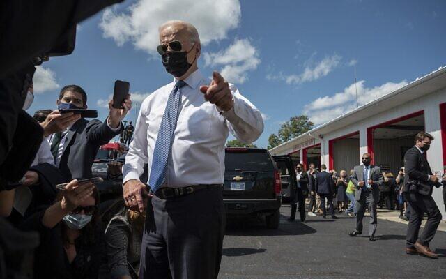 US President Joe Biden speaks as he visits the Shanksville Volunteer Fire Department marking the 20th anniversary of the 9/11 attacks, in Shanksville, Pennsylvania, on September 11, 2021. (Jim WATSON / AFP)