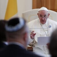 Pope Francis attends a meeting with bishops at the Apostolic Nunciature in Bratislava, Slovakia, on September 12, 2021. (REMO CASILLI / POOL / AFP)