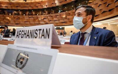 Afghanistan's Ambassador to the UN Nasir Ahmad Andisha attends a hosts aid conference on Afghanistan, in Geneva on September 13, 2021. (Fabrice COFFRINI/AFP)