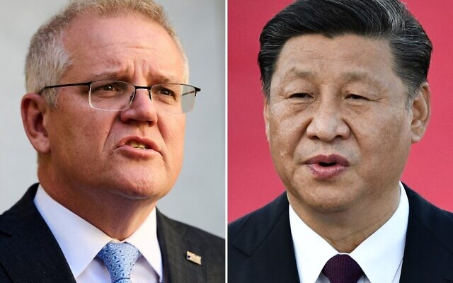 This combination of file photos shows Australian Prime Minister Scott Morrison (L) speaking during a press conference in Canberra on August 17, 2021; and China's President Xi Jinping (R) speaking at Macau's international airport on December 18, 2019.  (AFP)