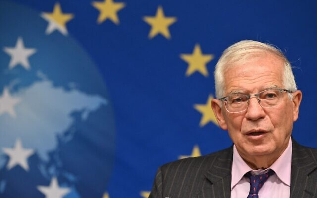 Josep Borrell, the EU's top diplomat, speaks during a press conference after an informal meeting of foreign ministers at the EU Delegation, on September 20, 2021, in New York City. (Angela Weiss/AFP)