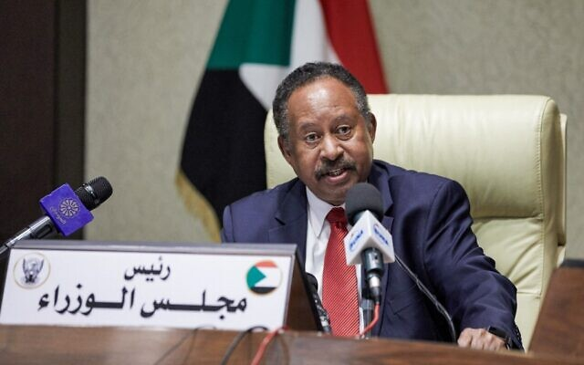 Sudan's Prime Minister Prime Minister Abdalla Hamdok chairs a cabinet meeting in the capital Khartoum, on September 21, 2021. (AFP)
