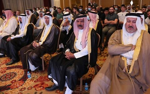 Iraqis attend the conference of peace and reclamation organised by US think-tank Center for Peace Communications in Erbil, the capital of northern Iraq's Kurdistan autonomous region, on September 24, 2021. (Safin Hamed/AFP)