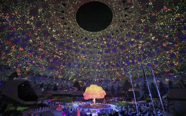 A general view shows the opening ceremony of the Dubai Expo 2020, on September 30, 2021. (Karim Sahib/AFP)