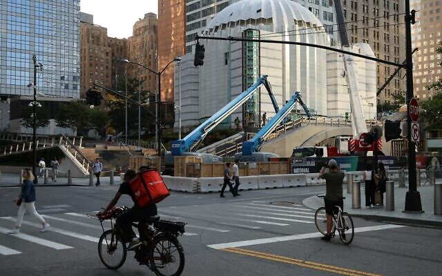 Construction continues on St. Nicholas Greek Orthodox Church and National Shrine across the street from the 9/11 Memorial and Museum on September 08, 2021 in New York City. (Chip Somodevilla/Getty Images/AFP)