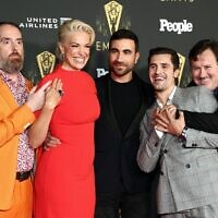 (L-R) Brendan Hunt, Hannah Waddingham, Brett Goldstein, Phil Dunster, and Jeremy Swift attend the Television Academy's Reception to Honor 73rd Emmy Award Nominees at Television Academy on September 17, 2021 in Los Angeles, California.   (Matt Winkelmeyer/Getty Images/AFP)