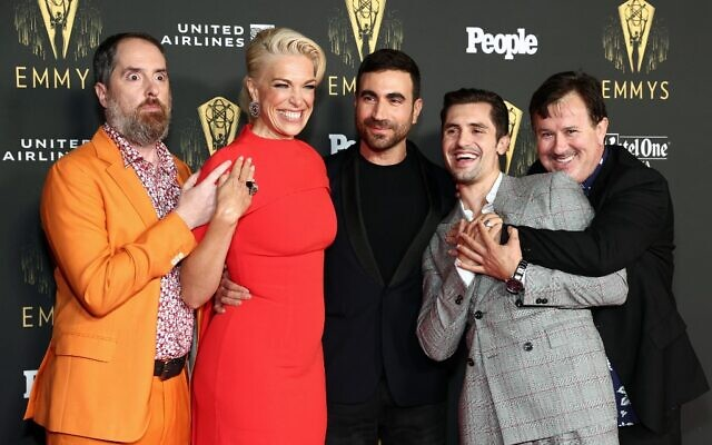 (L-R) Ted Lasso's Brendan Hunt, Hannah Waddingham, Brett Goldstein, Phil Dunster, and Jeremy Swift attend the Television Academy's Reception to Honor 73rd Emmy Award Nominees at Television Academy on September 17, 2021 in Los Angeles, California. (Matt Winkelmeyer/Getty Images/AFP)