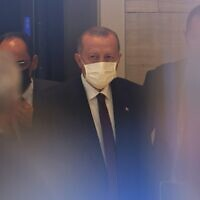 Turkish President Tayyip Erdogan prepares to leave the Turkish Consulate General en route to the United Nations on September 21, 2021 in New York City. (Michael M. Santiago/Getty Images N. America/Getty Images via AFP)