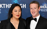 Priscilla Chan and Mark Zuckerberg attend the 2020 Breakthrough Prize Red Carpet at NASA Ames Research Center on November 03, 2019 in Mountain View, California. (Ian Tuttle/Getty Images  for Breakthrough Prize/JTA)