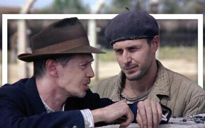 Steve Buscemi and David Arquette in 'The Grey Zone' (Screenshot via Lionsgate Entertainment; Photo illustration by Grace Yagel via JTA)