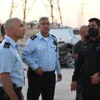 Police at the scene of a murder in the Negev, on September 21, 2021. (Israel Police)