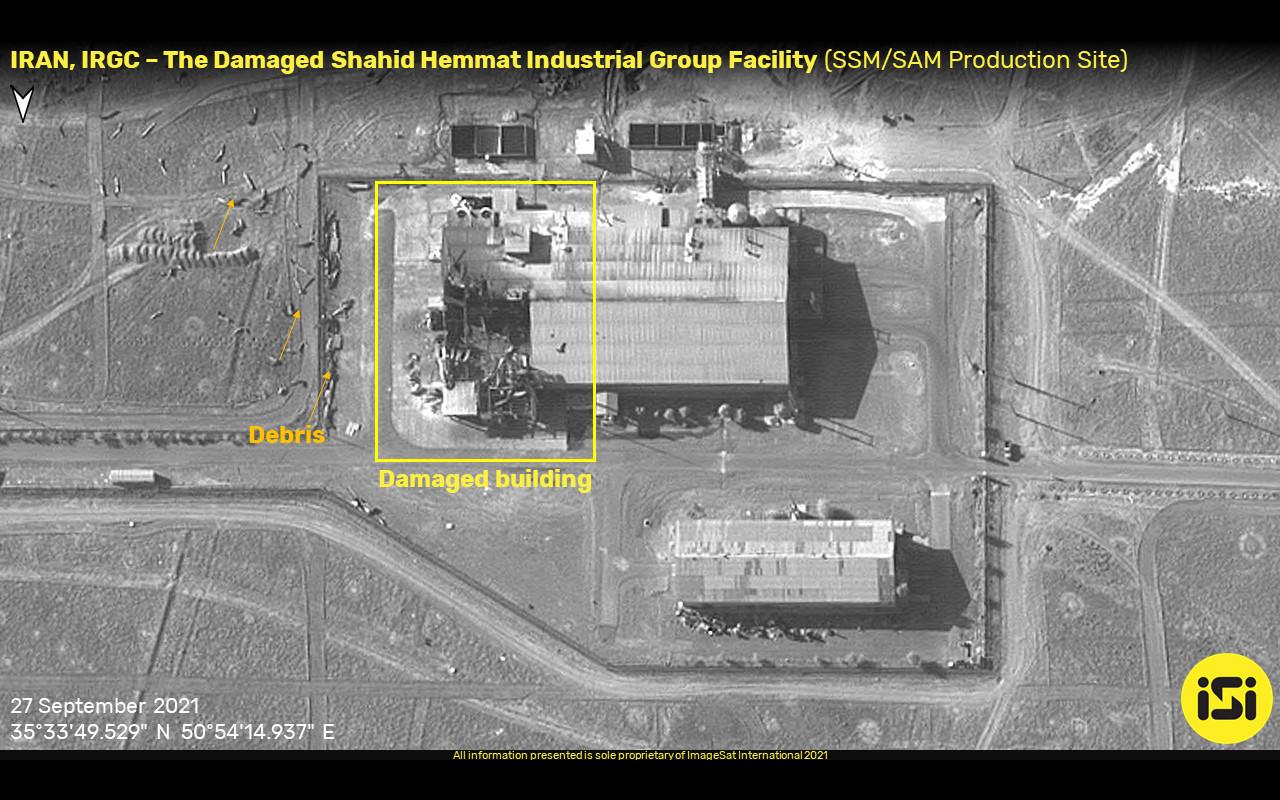 صورة تظهر حجم الضرر الناتج عن انفجار في قاعدة صواريخ ايرانية 27 سبتمبر 2021 (ImageSat International)